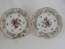 SCHUMANN Bavaria Dresden Flowers CHATEAU Pierced  9.5 In Plates Set of 2 US Zone