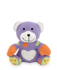 Rich Frog Knit Bear Sitting K'NITS Cotton Purple Lavender Cream Baby Stuffed NEW