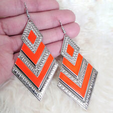 Vintage Womens Silver-Orange Rhombus Charms Chandelier Dangle Hook Earrings HOT