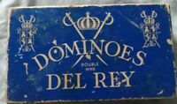 Vintage DEL-RAY Embossed Wood Dominoes Original Box-55 Pieces- Gamers or Crafts