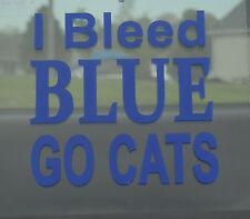 """Sports Kentucky Wildcat Basketball Oracal Vinyl Decal """"I Bleed Blue Go Cats"""""""