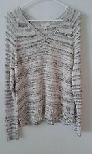 Eileen Fisher NEW sweater L cotton blend gray stripe v-neck lighter wt NWT $178