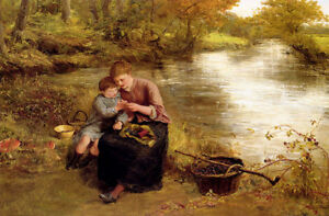 Oil painting william maw egley - blackberry picking mother & child in landscape