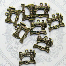 BC099 6 Sewing Machine Charms Antique Bronze Tone 3D