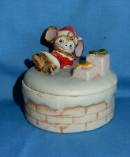 New listing Vintage Homco Christmas Santa Mouse on Covered Trinket Dish #8901