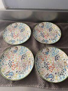 "Pottery Barn Set Of 4 Hilltop Meadow 7"" Peter Rabbit Appetizer Plates"