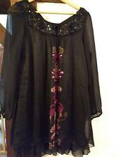 Gorgeous black chiffon style sequin evening party boho Yumi dress size 14-16 L