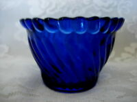 Unusual Collectible Cobalt Blue Swirled Pressed Glass Tealight/Votive- Scalloped