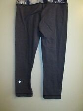 Lululemon Athletica 4 Workout Stretch Yoga Pants Leggings Cropped Gray Blue Gym