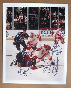 Red Wings vs Avs 8 x 10 Fight Photo copy signed by 3: McCarty, Shanahan, Vernon