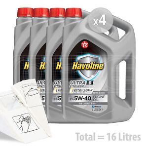 Car Engine Oil Service Kit / Pack 16 LITRES Texaco Havoline Ultra S 5w-40 16L
