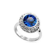 Shiny Crystal Royal dark blue Shiny Crystal Silver Circle Adjustable Ring FR185