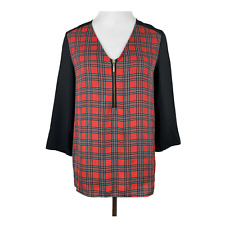 Express Blouse Top S Plaid V-Neck 1/4 Zip 3/4 Sleeve Black Red Office Womens