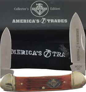America's Trade Handyman Burnt Orange Bone Canoe Pocket Knife
