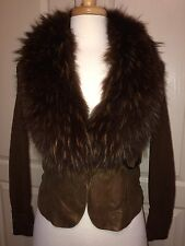 LEATHER / WOOL Jacket with FUR COLLAR - Brown Sz M  CACHE'  Excellent!
