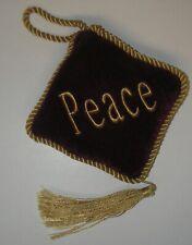 "Hanging Ornament ""Peace"" Mini Cushion Ruby Velvet Gold cord/Tassel 4"""