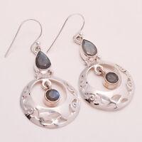 Natural Fire Labradorite Gemstone Handmade 925 Sterling Silver Earring Jewelry