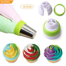 10pcs 3-Color Cake Cream Icing Piping Bag Russian Nozzle Converter Coupler