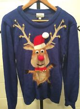 Ugly Christmas Sweater Reindeer Jingle Bells Pom Pom Holidays Party Large Blue