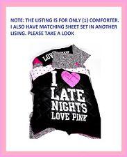 RARE ❤ Victoria Secret Pink BLACK I LOVE LATE NIGHT REVERSIBLE COMFORTER TWIN XL