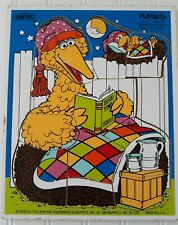 Vintage 1984 Playskool Sesame Street Wooden Puzzle Bird Time Stories Big Bird