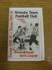 1990/1991 Fixture List: Grimsby Town - Fold Out Style Booklet Issued By Evening