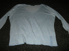 Dorothy Perkins jumper, blue and white stripes, v neck, long sleeves, size 16.