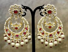 Indian Bollywood Sabysachi Uncut Meenakari Jadau Kundan Pearl ChandBali Earring