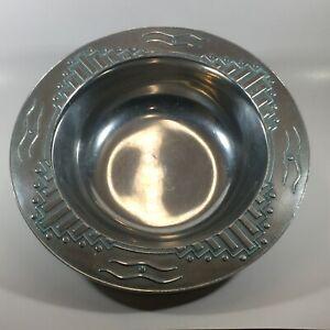 """Wilton Armetale Zia Holloware Turquoise Pewter 10 1/2"""" Round Vegetable Bowl"""