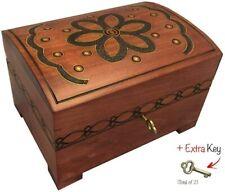 Handmade Wooden Chest Decorative Box Jewelry Keepsake Box w/ Lock & Key