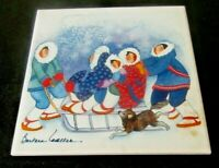 TILE TRIVET Eskimo Sled Winter Scene Snow Wall Burner Cover Kitchen Cool Art