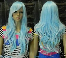 New Light Blue + white Mix Long Wavy Cosplay women Wig