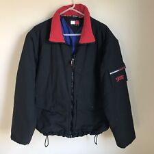 85615f9e0d6078 Vintage Tommy Hilfiger Puffer Coat Black Pockets Mens XL Large Logo Tommy  Jeans