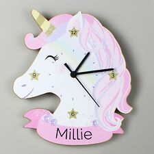 Childrens Personalised Unicorn Wooden Bedroom Clock - Add Girls Name