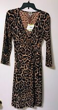 Anne Klein Women's Faux Wrap Dress Camel Combo Size 4