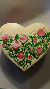 Handmade, Hand- Painted, One-of-a-Kind, Keepsake Box with Red Rosebuds