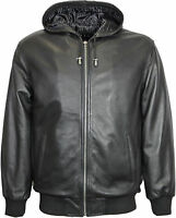 Mens Classic 100% Real Leather Hooded Bomber Jacket - Black