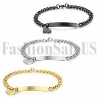 Women's Stainless Steel Heart Dangle Silver Black Gold Tone Bracelet Bangle