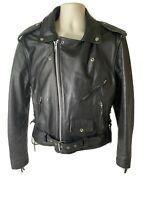 Vintage Frontier Heavy 100% Leather Motorcycle/Biker Jacket  Mens Size 42