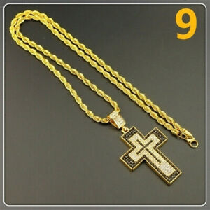 Men'S Yellow Gold Long Sweater Chain Valentine'S Day Cross Necklace Jewelry