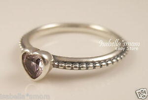 ONE LOVE Genuine PANDORA Sliver PINK Synthetic SAPPHIRE Heart Ring Sz 4.5/58 NEW
