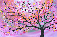 A0 PRINT Large Modern PAINTING Art tree pink folk Wall Decor ON  quality  canvas