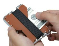 SLIM Genuine Leather Card Holder for Men RFID Metal Mens Wallet Money Band Clip