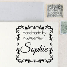 Personalized Custom Name Handle Mounted Handmade Created by Rubber Stamp RE614