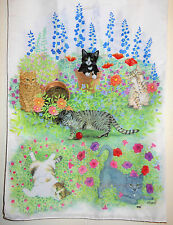 CAT PRINT SCARF signed O'BRYANT / TCD Trinity College Dublin ✿ VERY RARE