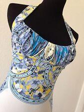 AUTH NWT Roberto Cavalli Gold Label Blue Floral Halter Top (orig $930)