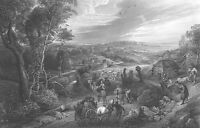 Antique RUBENS LANDSCAPE Art Print Engraving of a Country Town Farm Yard Horses