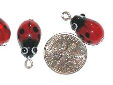 1pc Murano Glass Ladybug loose pendant charm Lampwork pendant bug bead findings