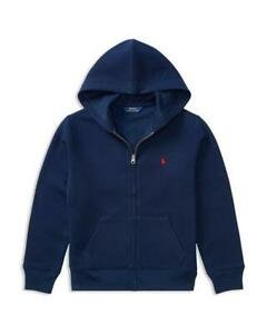NWD Polo Ralph Lauren Boys' Navy Fleece Zip Up Hoodie Large (14-16) toc20A