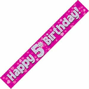9ft Pink Happy 5th Birthday Holographic Foil Banner Age 5 Girl Party Decorations